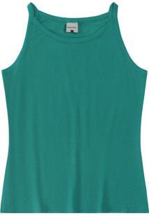 Blusa Verde Em Malha Canelada