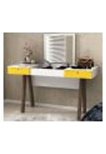 Penteadeira Escrivaninha Com Espelho Basculante Pe2002 Branco/Amarelo/Nogal Tecno Mobili