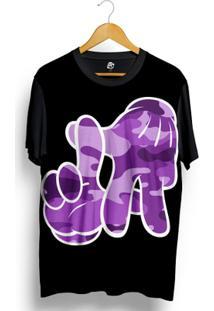 Camiseta Bsc La Hand Purple Camo Full Print - Masculino