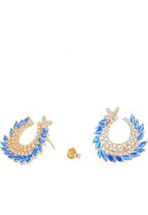 Brinco Fashionarium Curve Cristais Azul Cravejado De Zircônias Semi Joia Luxo Ouro 18K