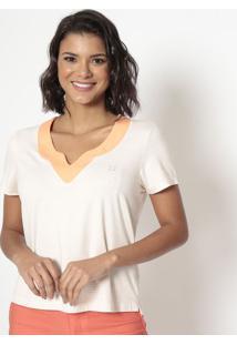 Blusa Listrada Com Termocolantes- Off White & Coral-ÊNfase