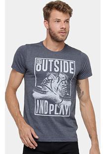 Camiseta Yellowl Estampa Outside Masculina - Masculino-Mescla