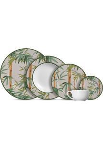 Aparelho De Jantar 20 Peças Bambu - Alleanza - Branco / Verde