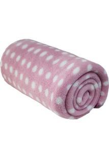 Cobertor Poá Em Microfibra- Rosa Claro & Branco- 90Xcamesa