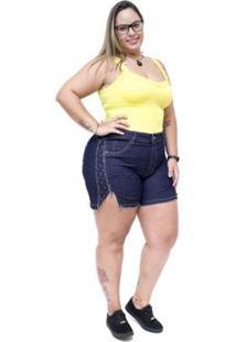 Shorts Jeans Feminino Xtra Charmy Plus Size Vandalci - Feminino-Azul