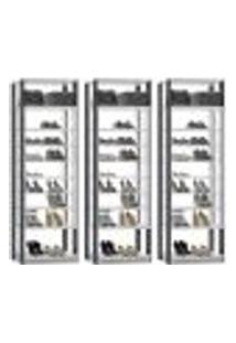 Kit 03 Módulos Sapateira Para Closet Clothes 1009 Branco Espresso Be Mobiliario