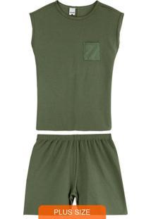 Pijama Verde Militar Em Malha Texturizada Plus