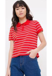 Camisa Polo Listrada Vermelha