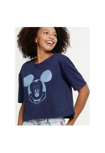 Blusa Feminina Cropped Mickey Manga Curta Disney