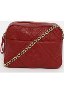 Bolsa Transversal Em Couro Texturizado - Vermelha- 1Capodarte