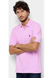 Camisa Polo U.S. Polo Assn Básica Lisa Masculina - Masculino-Rosa Escuro