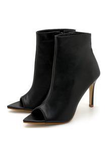 Sandalia Salto Alto Preto Feminina Tecido Napa Moda Fashion