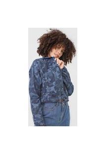 Jaqueta Sarja Hering Camuflada Azul-Marinho