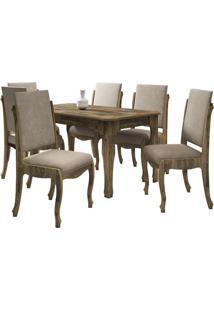 Mesa De Jantar Com 6 Cadeiras Ônix Amadeirado Com Pena Caramelo Rv Móveis