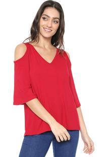 Blusa Mercatto Off Shoulders Vermelha
