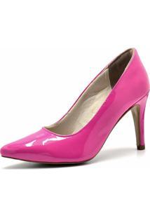 Scarpin Bico Fino Flor Da Pele Verniz Pink