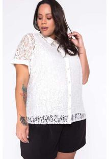Camisa Almaria Plus Size New Umbi Renda Branco