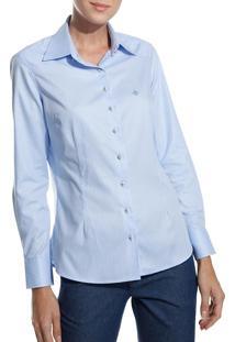 Camisa Dudalina Manga Longa Tricoline Fio Tinto Recorte Ombro Feminina (Listrado, 42)