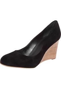 Scarpin My Shoes Bico Redondo Anabela Alta Preto
