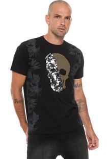 Camiseta Gangster Estampada Preta