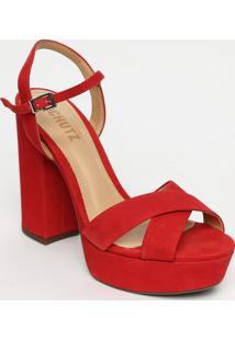 Sandã¡Lia Meia Pata Com Tiras Cruzadas- Vermelha- Salschutz