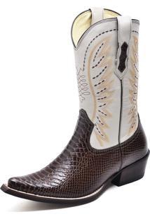 Bota Country Bico Fino Top Franca Shoes Ancaconda Cafe / Marfim