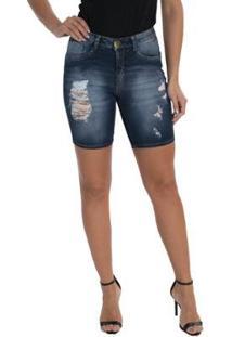 Bermuda Jeans Denuncia Mid Rise Mid Plus Feminina - Feminino-Azul