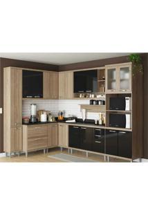 Cozinha Completa Multimóveis Com 10 Peças Sicília 5803 Argila/Preto