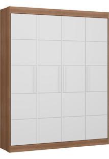 Guarda-Roupa Chocolate Plus Carvalho E Branco Com 4 Portas E 2 Gavetas - Multimóveis