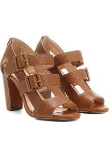 Sandália Couro Shoestock Salto Grosso Fivelas Feminina