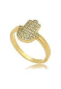 Anel Mão De Fátima Cravejado Folheado Em Ouro 18K - Feminino-Dourado