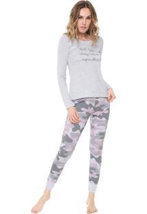 Pijama Malwee Liberta Inspire Others Cinza/Rosa
