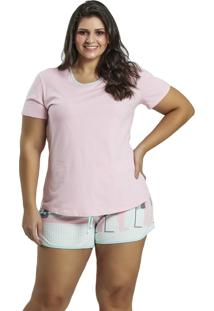Pijama Recco Curto Malha Malha Colors Rosa - Tricae