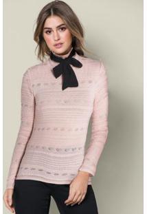Blusa De Tricô Com Gola Laço Rosê E Preto
