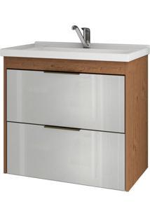 Gabinete De Banheiro Lavanda 1 Pt 1 Gv Amêndoa E Branco 59 Cm