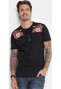 Camiseta Gangster Estampa Flores Masculina - Masculino-Preto