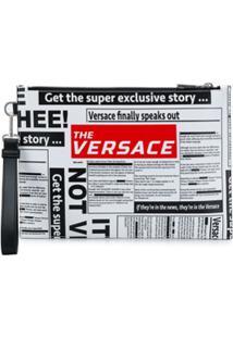 Versace Bolsa Clutch Com Logo - Preto