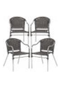 Cadeiras 4Un Para Area Varanda Fibra Sintetica Sala Cozinha Jardim Sacada Floripa - Tabaco