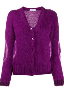 So Allure Contrasting Circle Knitted Cardigan - Roxo
