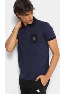 Camisa Polo Rg 518 Piquet Bolso Masculina - Masculino-Marinho