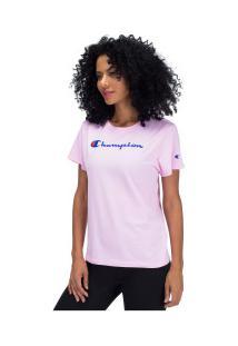 Camiseta Champion Clássica Y07418 - Feminina - Rosa Claro
