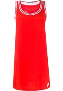 Calvin Klein Jeans Vestido Com Bordado Contrastante - Vermelho