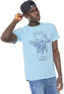 Camiseta Fiveblu Manga Curta Estampada Azul