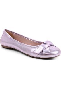 Sapatilha Couro Shoestock Camurça Metalizada Laço Feminina