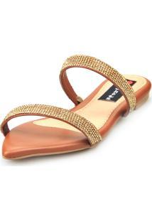 Sandalia Love Shoes Rasteira Bico Folha Strass Delicada Caramelo - Caramelo - Feminino - Dafiti