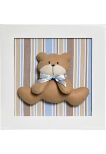 Quadro Decorativo Urso Potinho De Mel Azul