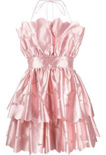 Pinko Vestido Evasê De Cetim Com Estampa Floral - Rosa