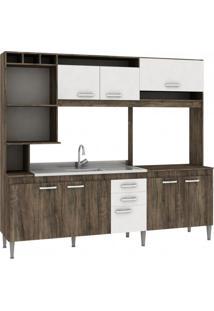 Cozinha Compacta Sem Pia E Tampo 8 Portas 2 Gavetas Helen Fellicci Naturalle/Branco