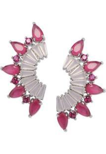 Brinco Ear Cuff Spikes Pequeno Com Zircônias Banho Em Ródio - Feminino-Pink+Rosa