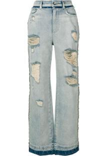Dolce & Gabbana Calça Jeans Pantalona Com Desgaste - Azul